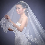 Voan (lúp) cài tóc, Mạng che mặt dạng miếng cho Cô dâu và Dạ hội, đi tiệc, sự kiện màu trắng kem viền ren (nhiều mẫu giao ngẫu nhiên) thumbnail