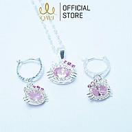 Bộ trang sức QMJ Mèo Kitty ovan đính đá bạc 925 cho bé yêu - Q041 thumbnail