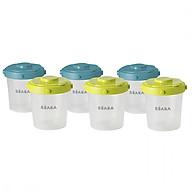 Bộ 6 hộp chia thức ăn size 200ml Béaba 3 nắp màu xanh dương 3 nắp màu xanh lá thumbnail