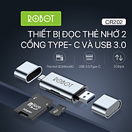 Thiết Bị Đọc Thẻ Nhớ ROBOT CR202 - 2 Đầu Type-C Và USB 3.0, Khe Cắm Thẻ Nhớ SD Micro SD - Hàng Chính Hãng thumbnail