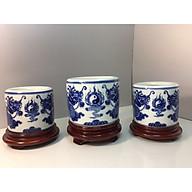 Combo 3 bát hương men xanh ngọc gốm sứ bát tràng- cao cấp ( cả 3 đế gỗ hương đi kèm) thumbnail