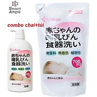 Combo Nước rửa bình sữa, núm ti, chén bát, hoa quả, đồ chơi,... cho bé Smart Angel Nhật Bản chai 800ml và túi 700 ml thumbnail