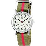 Timex Women s T2N917 Weekender Watch with Olive Green and Red Nylon Strap thumbnail