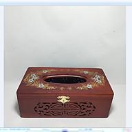 Hộp giấy ăn gỗ hương hoa văn phong thủy có chốt cài - ảnh thật thumbnail