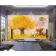 Tranh dán tường 3d cây kim tiền - ép kim sa - có sẵn keo PT47 thumbnail