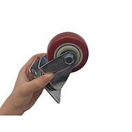 Bánh xe đẩy mặt đế xoay càng sắt mạ kền tải trọng 50kg lốp nhựa TPR đỏ mận rộng 32mm 75mm thumbnail