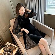Đầm Dáng Ôm Sườn Xám Cách Tân Vải Nhung Xẻ Tà Kim Xa Lấp Lánh Quyến Rũ - MSP D11 thumbnail