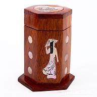 Lọ đựng tăm - hũ tăm gỗ hương khảm cô gái - loại đẹp thumbnail