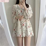 Bộ jump GINDY in hoa hồng ngọt ngào thắt lưng eo cao dài tay nữ tính V5102 thumbnail