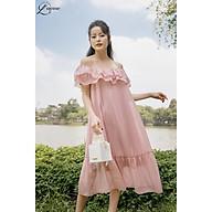 Váy bầu đẹp Junia Dress chất tơ 2 lớp mềm dịu nhẹ, kiểu dáng suông trễ vai cho mẹ bầu làm điệu by LAMME thumbnail