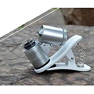 Kính lúp mini 60X có đèn led tím soi tiền giả tích hợp kẹp điện thoại (Tặng kèm miếng thép đa năng 11in1) thumbnail