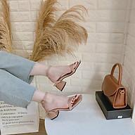 Sandal gót vuông 5p da bóng mũi vuông quai hậu chéo thumbnail