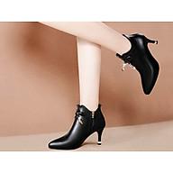 Giày boot nữ cao gót phong cách Hàn Quốc cao 6cm 2 màu đen, kem B146 thumbnail