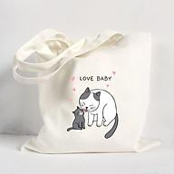 Túi vải đeo vai Tote Bag in hình Love baby - Màu trắng - MS ABXDANH002 thumbnail