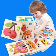 Bộ xếp hình động vật 3D hoạt hình bằng gỗ - đồ chơi xếp hình gỗ thumbnail