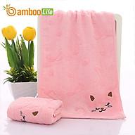 Khăn mặt sợi tre Khăn rửa mặt lau mặt Bamboo Life BBL056 hàng chính hãng - Hồng thumbnail