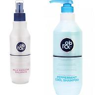 Combo Dầu gội bạc hà R&B Peppermint 1000ml - Nước dưỡng tóc dưỡng ẩm phục hồi tóc hư tổn R&B Milk Keratin Balance 250ml thumbnail