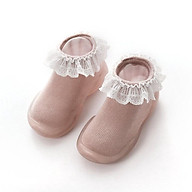 Giày bún dạng tất tập đi cho bé đế cao su chống trượt - viền ren công chúa phong cách Hàn Quốc Comfybaby GG003 thumbnail