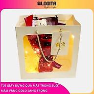 Túi Giấy Đựng Quà Mặt Trước Trong Suốt Màu Vàng Gold Sang Trọng thumbnail