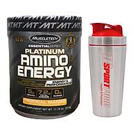 Combo BCAA Platinum Amino Plus Energy của Muscle Tech hương Tropical Mango (XOÀI) hộp 30 lần dùng hỗ trợ tăng sức bền, sức mạnh, đốt mỡ giảm cân mạnh mẽ, phục hồi cơ nhanh chóng cho người tập GYM và chơi thể thao thao & Bình lắc INOX 739ml (Mẫu ngẫu nhiên) thumbnail