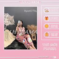 Bộ đồ ngủ, đồ bộ pijama lua nữ mặc nhà Bigsezi áo cộc quần dài chất liêu lụa hàn cao cấp sezi 60kg - 75kg thumbnail