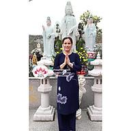 Thời trang Phật tử đi lễ Áo dài hoa dây màu xanh đi chùa thumbnail