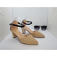Giày cao gót nữ Sandal Cao Gót Nữ Da Nhung Mềm Mịn Màu Kem Phối Viền Đen Quai Cài Ngang Đế Vuông Cao 7 Cm,7 Phân Thời Trang Nữ Phong Cách Hàn Quốc -CGPN0095-YN127 thumbnail