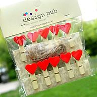SET 10 Cái Kẹp Gỗ Sơn Design Pub hình Trái tim đỏ (Tặng 1,5m dây cói) thumbnail