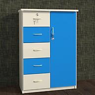 Tủ nhựa Đài Loan 1 cánh 5 ngăn T225 màu xanh dương thumbnail
