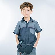 Áo Sơ Mi Jean Tay Ngắn Bé Trai V.T.A.Kids 18111061 - Xanh Đậm thumbnail