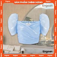 Áo croptop co giãn tay bồng vạt chéo bóng kính xanh tingoan ALANIE TOP BLUE thumbnail