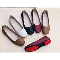 Giày búp bê đế bệt FREESHIP da thật mũi vuông có viền đen DORIS DR003 thumbnail