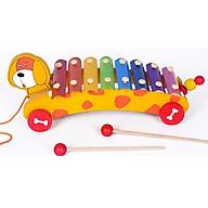 Đồ chơi gỗ đàn gõ 8 thanh xe kéo hình thú phát triển tư duy cho bé thumbnail