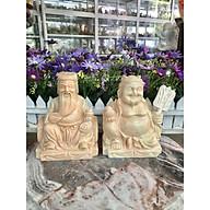 Bộ tượng thờ Tài Địa Thần Tài Thổ Địa đá cẩm thạch vàng cà rốt - Cao 15 cm thumbnail