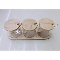 Sét 3 hũ đựng gia vị thủy tinh khay nắp gỗ - ANTH306 thumbnail