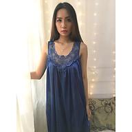 Đầm ngủ lụa Sayhome Z590-FXD màu xanh dương thumbnail