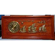 Tranh gỗ hương đục nổi mạ vàng gắn đồng hồ- Thuận Buồm Xuôi Gió -TG263 thumbnail