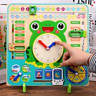 Đồ chơi Gỗ Đồng hồ và Lịch kỹ thuật số hình chú ếch xanh đa chức năng 7 trong 1 cho bé phát triển tư duy thumbnail
