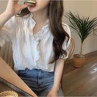 Áo kiểu nữ Phối bèo Ngắn tay Tay bồng Bánh bèo Dễ thương Ulzzang Hàn Quốc Áo kiểu nữ Ngắn tay Cute Thời trang thumbnail