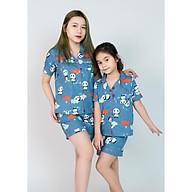 Pijama mẹ và bé màu xanh hình gấu trúc thumbnail
