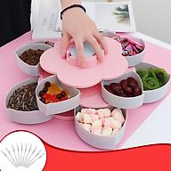 Khay đựng mứt kẹo hình bông sen 2 tầng có khe để điện thoại - tặng kèm thố thủy tinh đựng hạt (Giao màu ngẫu nhiên) thumbnail