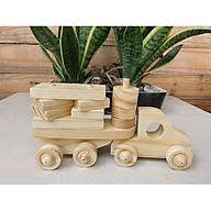 Mô hình Xe tải Lego bằng gỗ cho bé, tự do lắp ráp, bánh xe có thể kéo đi chơi, giúp phát triển trí tuệ toàn diện, đồ chơi vận động tư duy - logic của bé, an toàn sức khoẻ, phù hợp cho bé từ 3 tuổi trở lên. thumbnail