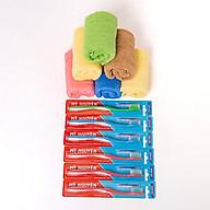 Combo 6 khăn rửa mặt Cotton hàng xuất Nhật tặng kèm 6 bàn chải - Chính hãng thumbnail