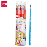 Bút chì màu học sinh Deli - Có kèm gọt chì ở nắp - Cỡ 2.9mm - 12 24 36 màu hộp - EC00307 EC00327 EC00337 thumbnail
