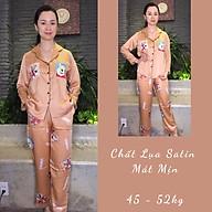 Bộ Pijama mặc nhà nữ thu đông dài tay chất satin mát thumbnail