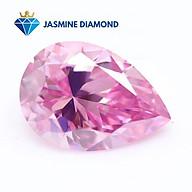 Kim cương nhân tạo Mỹ Moissanite giác cắt Pear màu hồng thumbnail