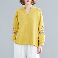 Women Loose Blouse Embroidered V-Neck Long Sleeve Vintage Shirt Casual Tops thumbnail