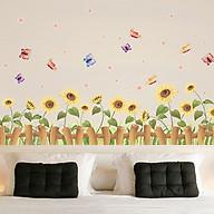 Decal dán tường trang trí phòng khách, quán cafe- Chân rào hướng dương- DXL7178 thumbnail