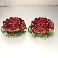 Combo 2 chiếc Chân đế nến thuỷ tinh hoa sen đỏ lá xanh KH12010 thumbnail