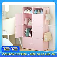 Tủ nhựa đựng túi xách lắp ghép 8 ô(2 ô nhỏ) màu hồng kèm móc treo thumbnail